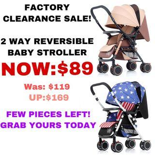 [ Factory Clearance Sale] 2Way Reversible Baby Stroller