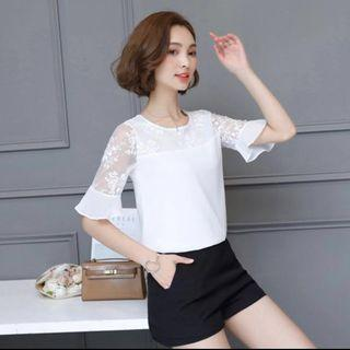 Women's Lace Sleeves Top (White)