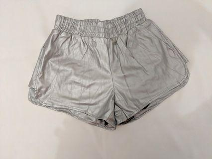 NO BRAND Silver Leather Short