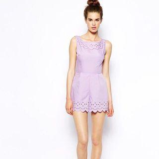 AX Paris crimped edge laser cut playsuit available in lilac and black sz UK12
