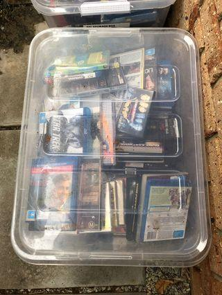 4 Large Boxes of Assorted Music CDs and Movie DVDS