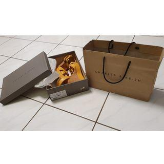 charles & keith Mustard coulour wedge shoes.