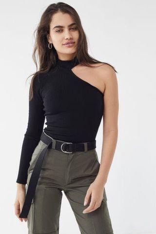 One Shoulder High Neck Black Sweater Top