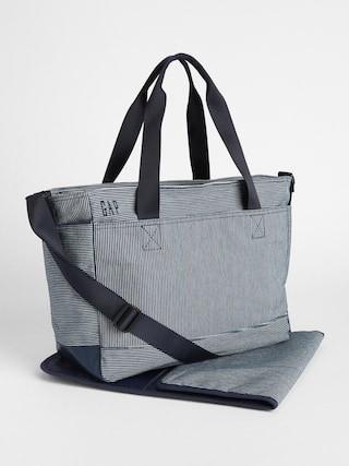 GAP Railroad Stripe Diaper Bag with padded changing mat