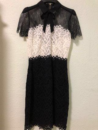 Sandro two tone lace dress