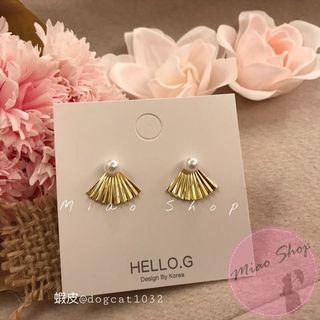 🚚 現貨❗️新款✨多種戴法!珍珠扇子和風復古簡約耳環 925銀針 後戴式 度假渡假