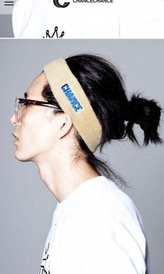 CHANCE CHANCE韓國品牌 卡其色刺繡髮帶
