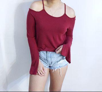 Red cold shoulder