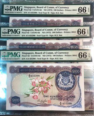 Singapore old Banknotes Orchid series $100 Grading 66EPQ 3 runs
