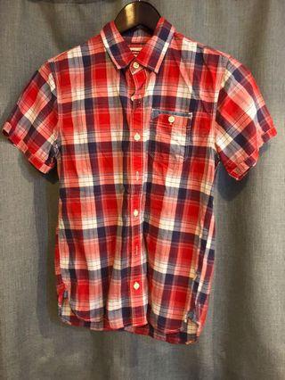 🚚 Levis 紅格紋短袖襯衫