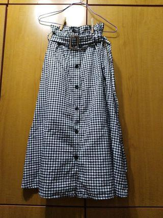 Ulzzang Gingham Button Down Checkered Skirt