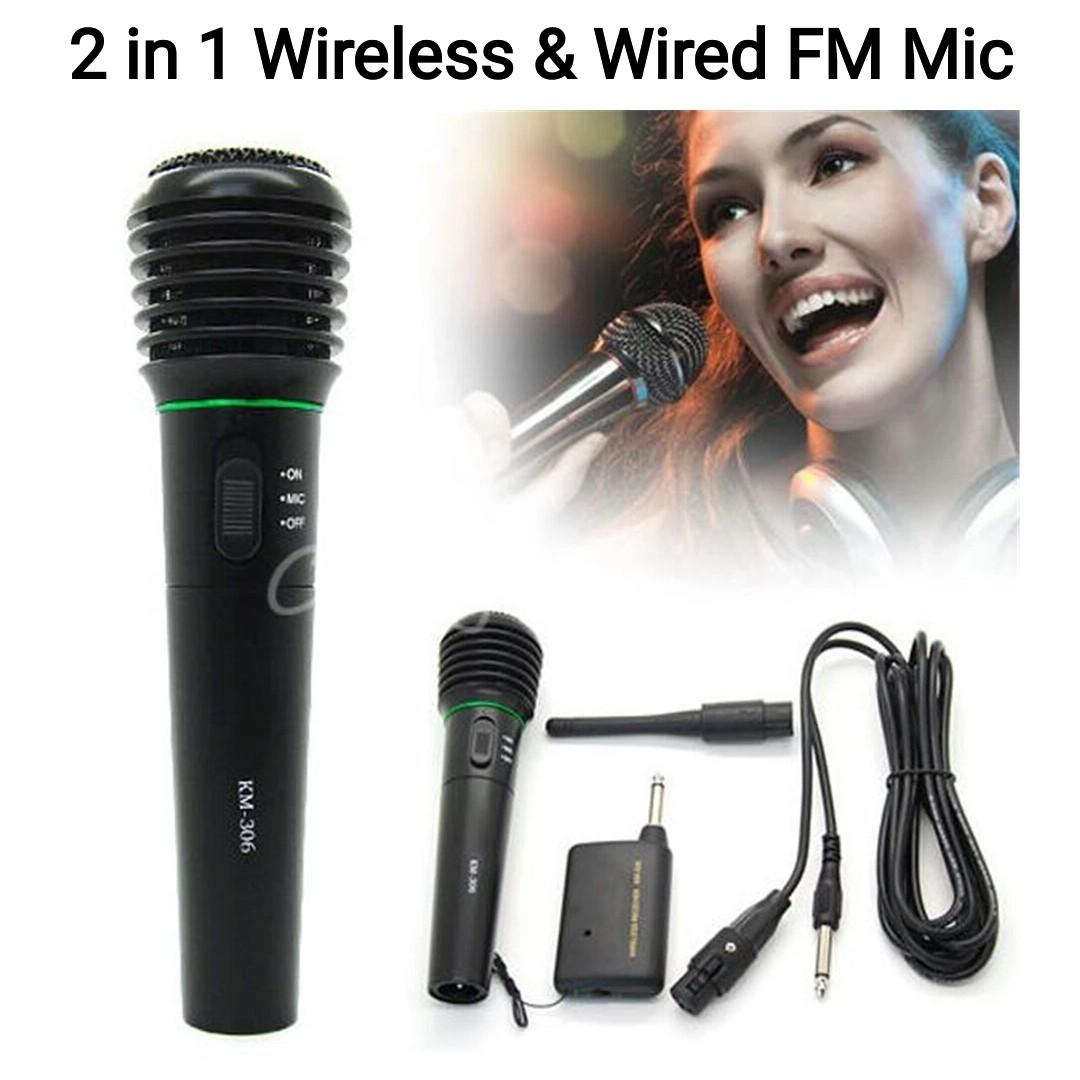 2 in 1 Wired And Wireless Handheld Professional Microphone Receiver Studio Un-Directional For Computer KTV with Mic Receiver