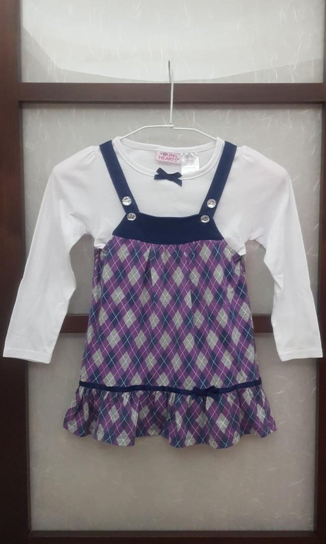 二手女童假二件長袖薄上衣(5號2-4歲)