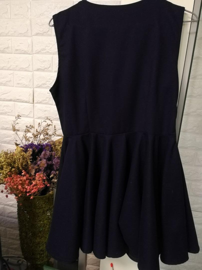 深藍色 斯文裙 飲宴裙 連身裙 navy blue