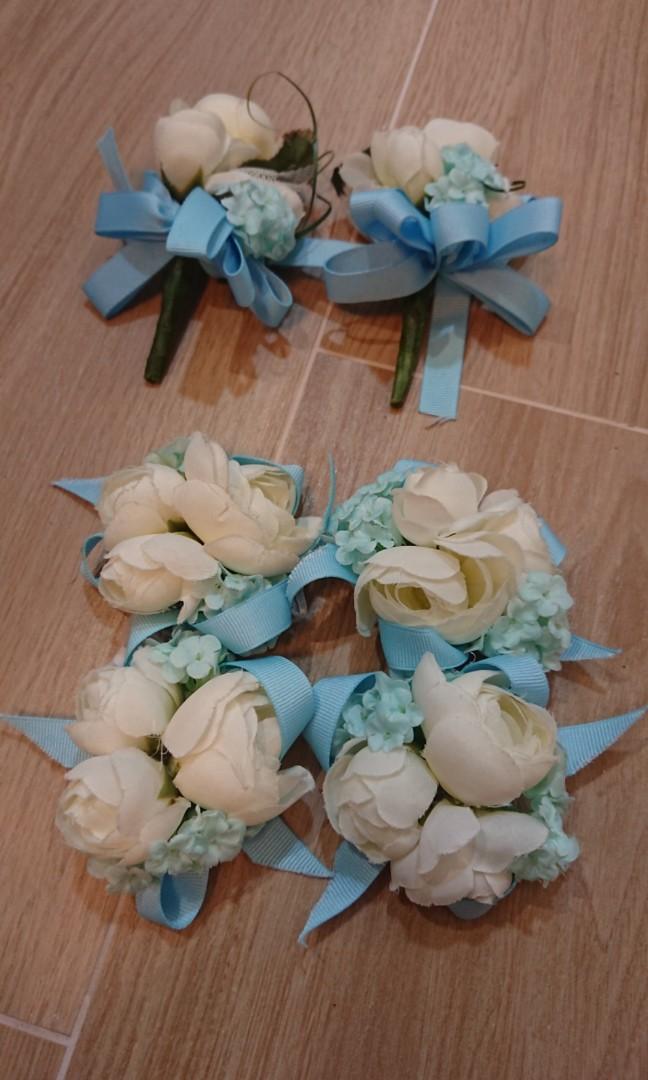 姐妹手花 兄弟襟花 結婚 白色 藍色