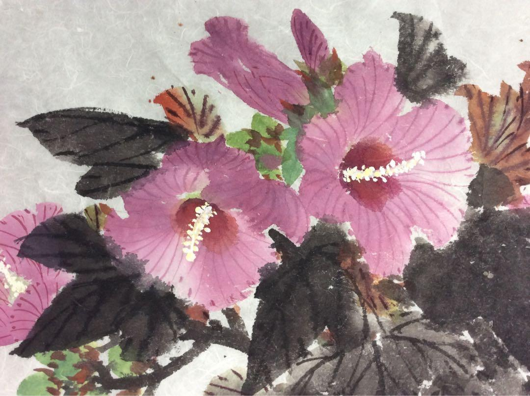 中國畫 - 花與昆蟲 ( 木槿花與蜜蜂 )