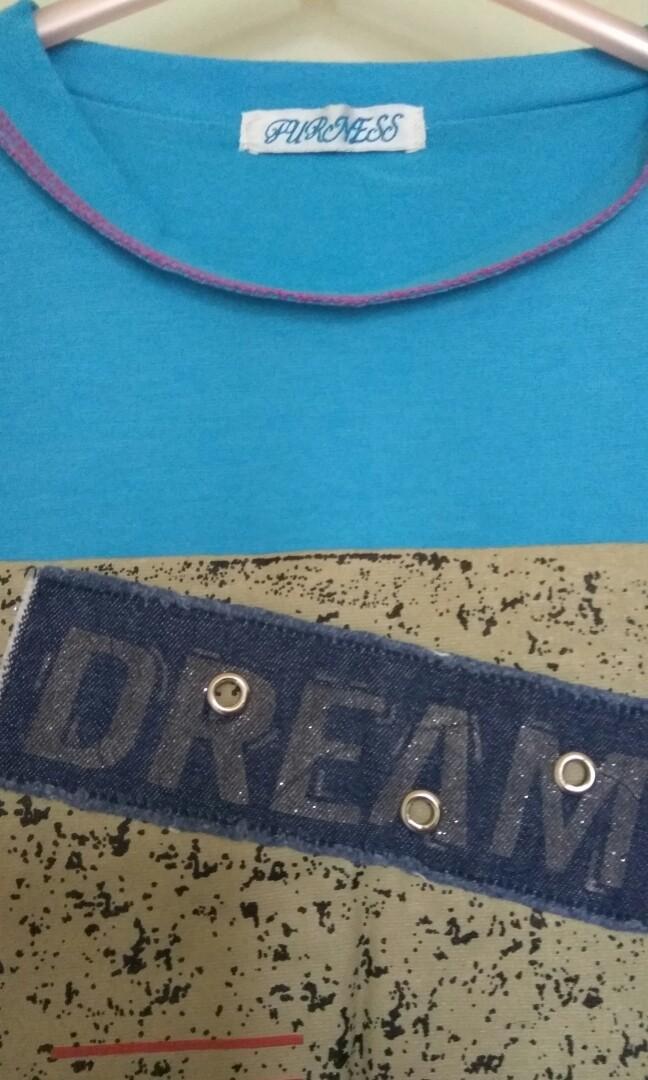 短袖上衣 blue stretchy top