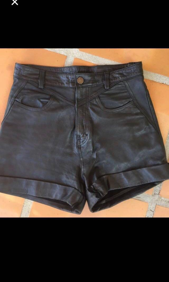 Black Leather high waisted Shorts - Custom/hand Made - Size 6 Or Xs