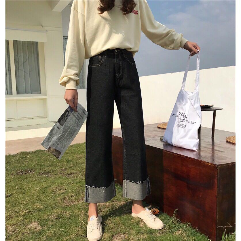 Celana Denim High Waist Gaya Retro Korea Import FREE ONGKIR