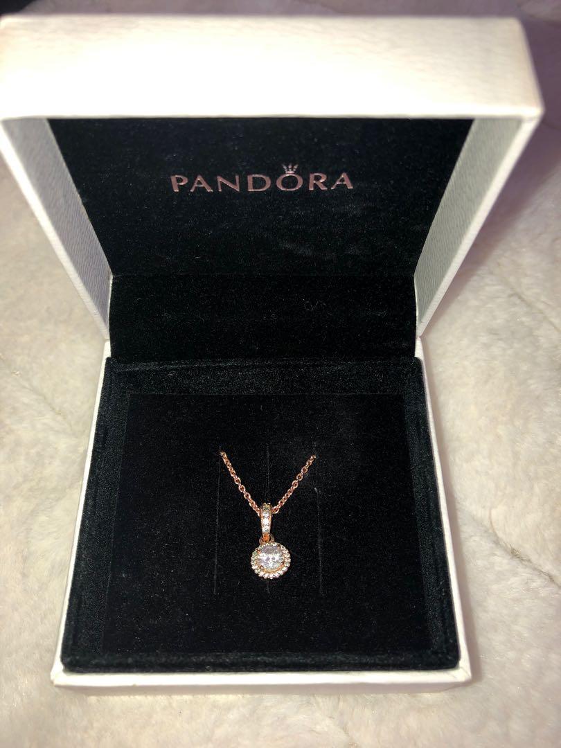 Classic Elegance Pandora Rose & Clear Zirconia Pendant & Chain