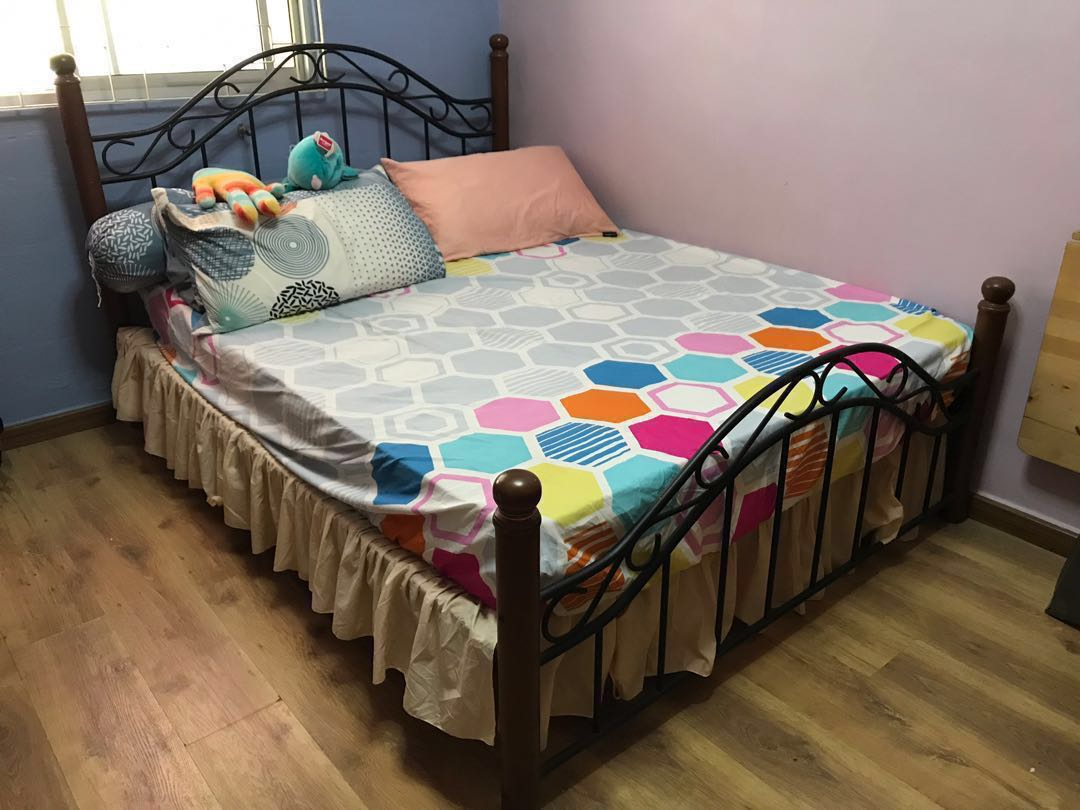 Classic Wood Iron Kast Queen Size Bed Frame Only