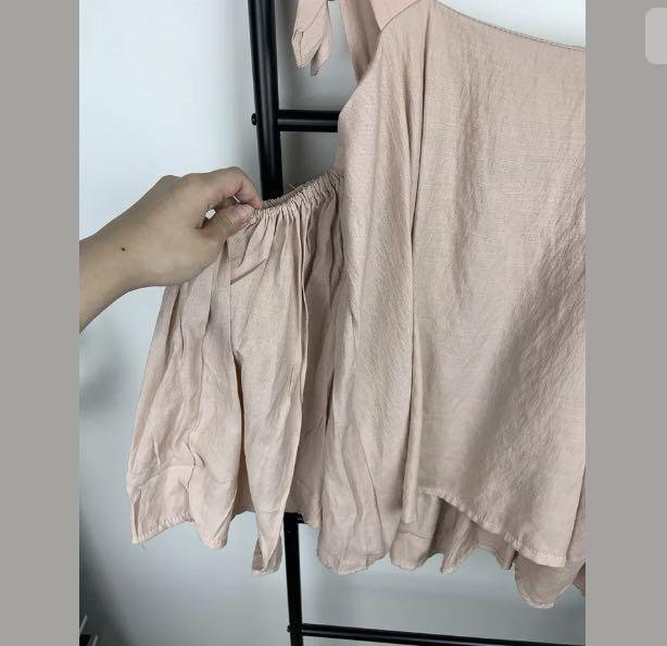 Dusty pink S/M korea style pastel cute kawaii cold shoulder top shirt blouse