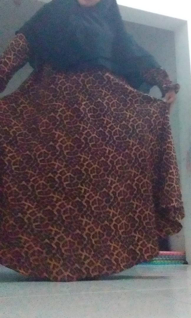 Gamis jumbo set khimar leopard