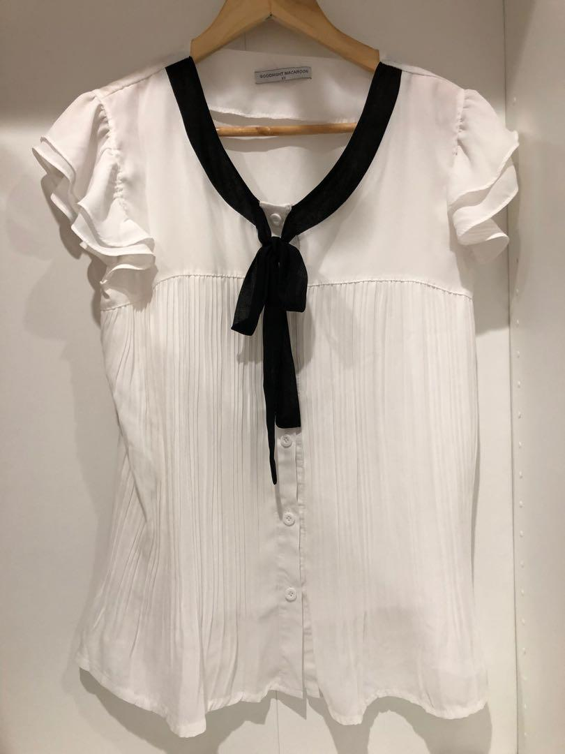 Goodnight Macaroon White Chiffon Sheer Pleated Black Pussybow Blouse
