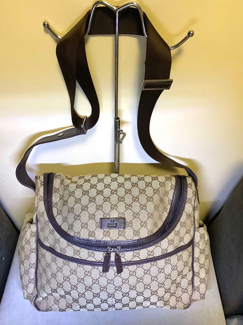 12c590fabee1 Gucci Beige & Brown Diaper Bag on Carousell