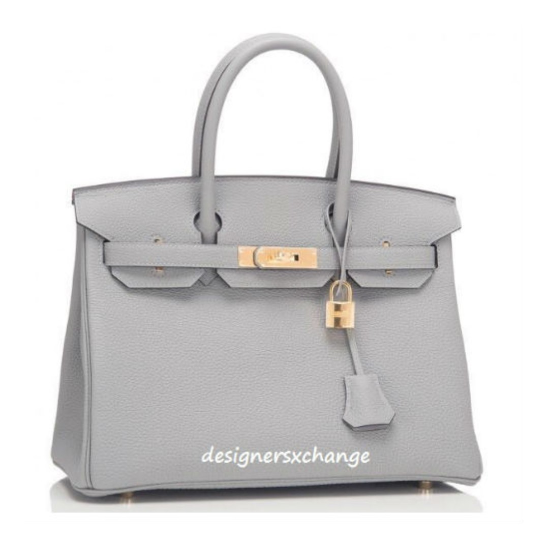 17714ebccd76 Hermes Birkin 30 Gris Mouette (Grey) Togo Gold HW Brand NEW with Hermes  Receipt