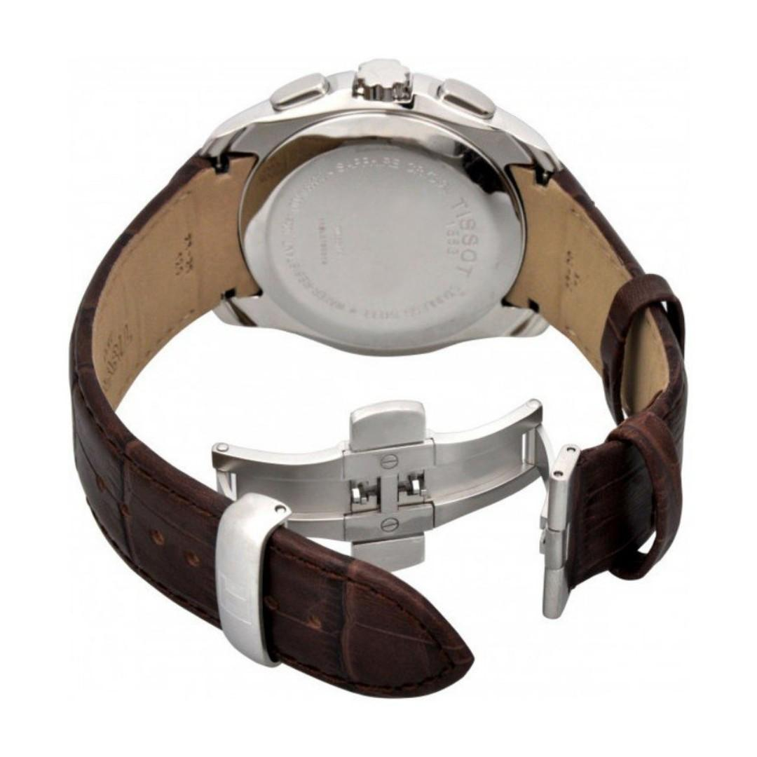 [Instock] Tissot Couturier Chronograph White 41mm Dial Brown Leather Strap Men's Watch T035.617.16.031.00