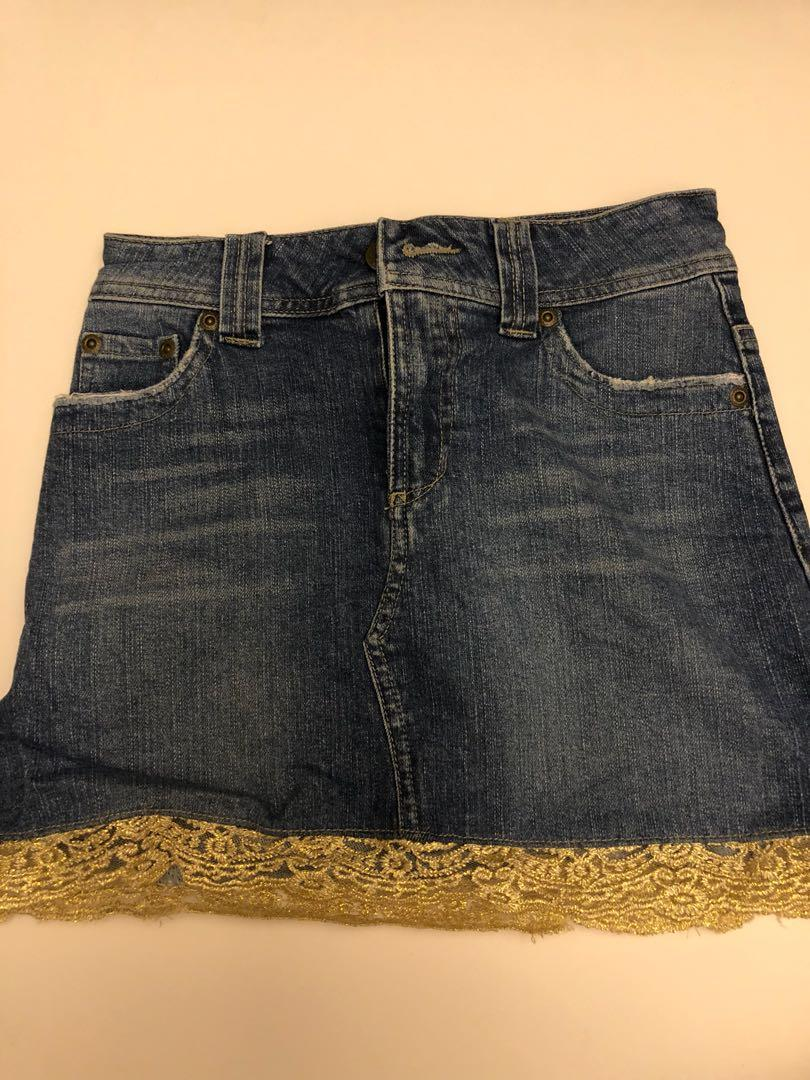 Jeans skirt with gold lace trim