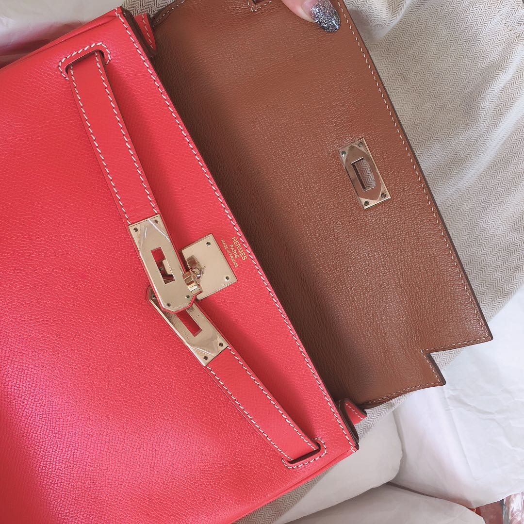 5bd2b2f9a212 Like New Hermes Kelly 28 Candy Rose Jaipur Gold Epsom Permabrass HW P  stamp