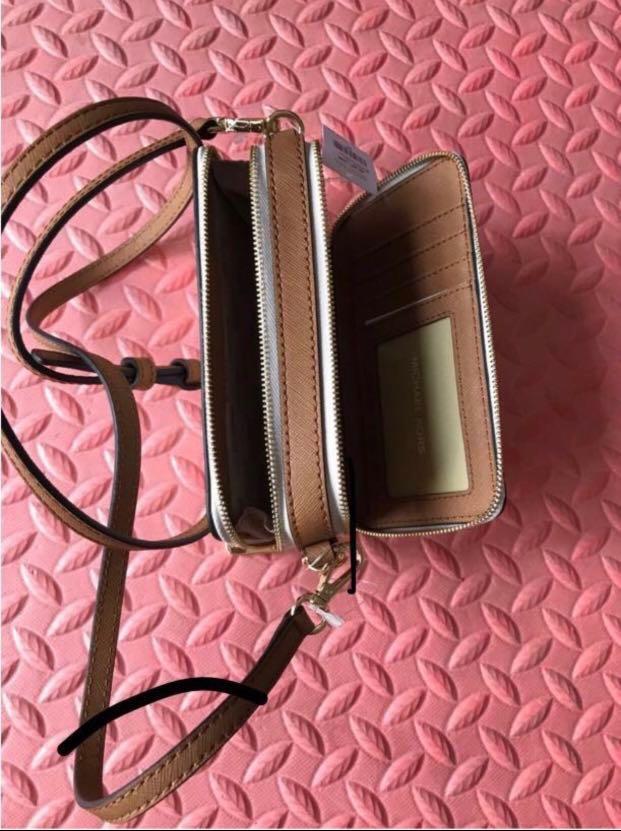 Michael Kors - Jet Set Travel MK Signature logo Multi-Function Phone Case/Clutch/Wallet/Small Cross-body Bag