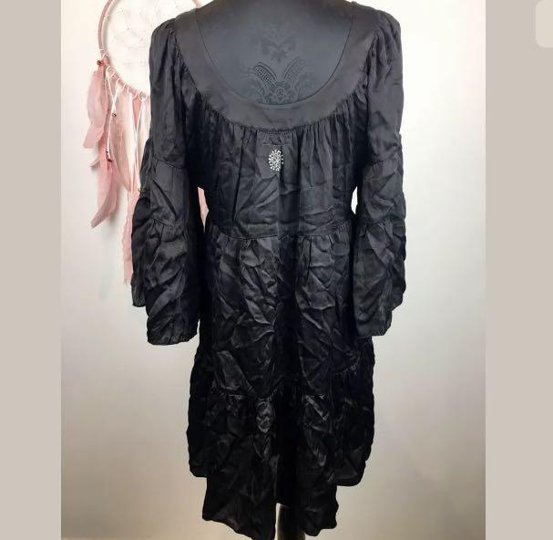 NAUDIC sz S black women short dress tunic boho hippy bell sleeves basic silky