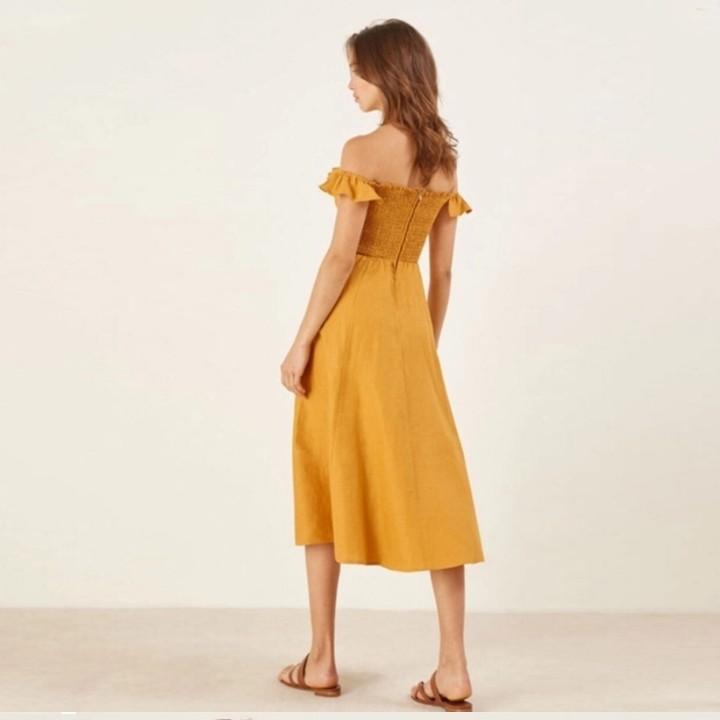 Off Shoulder mustard button down ruffled flared Dress