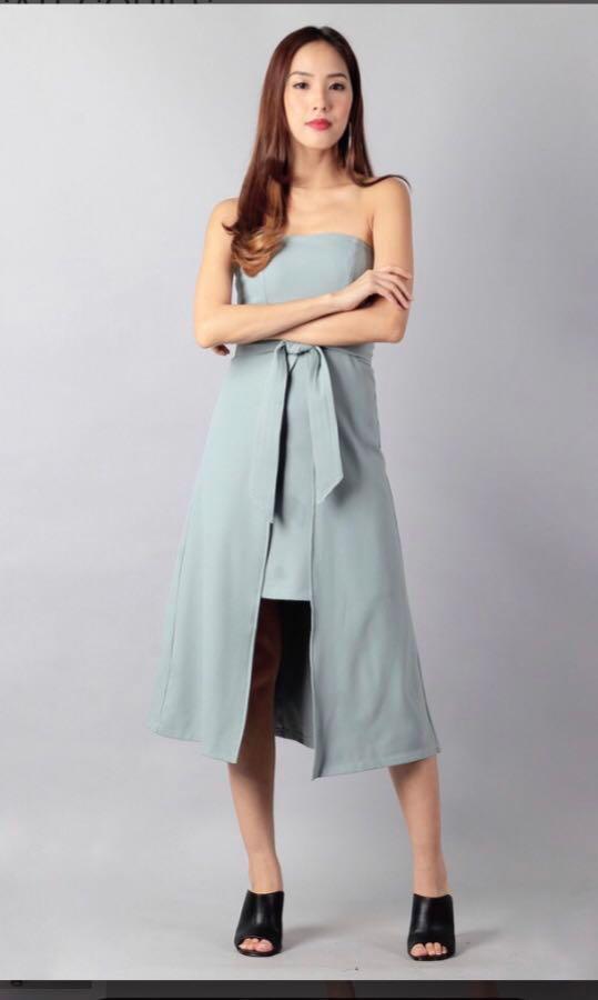Ohvola Bust Front Spilt Green Mint Dress
