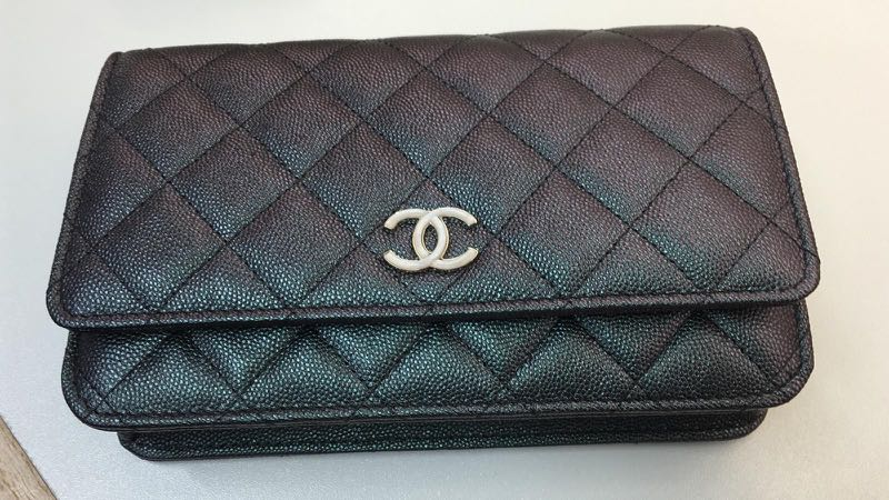 06a03c6a9e58 PREORDER! Chanel 19S Iridescent Black Wallet on Chain with Pearl ...