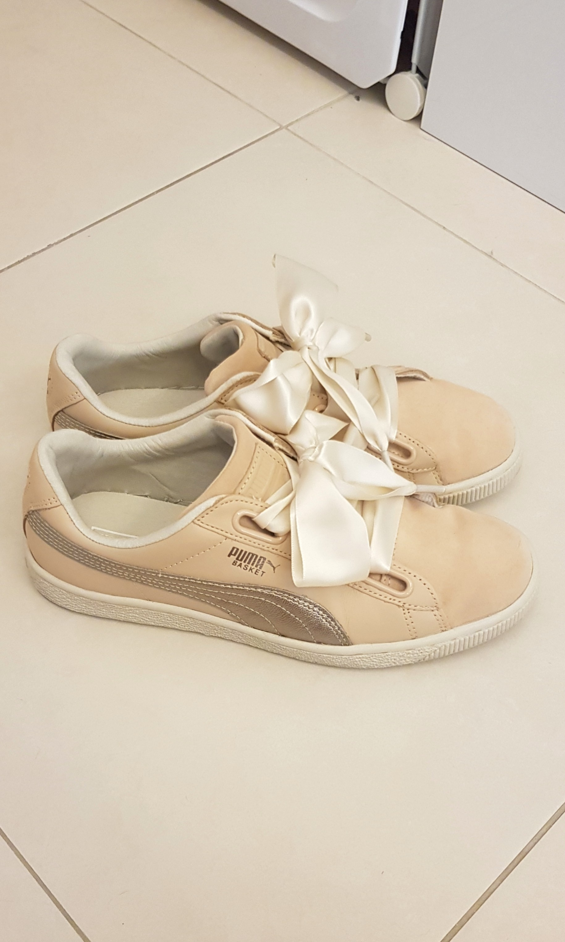 size 40 b055b 7cd1e Puma Natural Nude Basket Heart Up Leather Trainers Court Lace in Nude