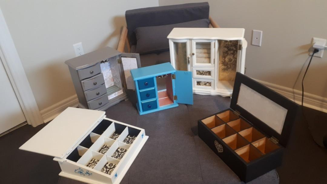 Refinished custom jewellery cabinets and tea boxes