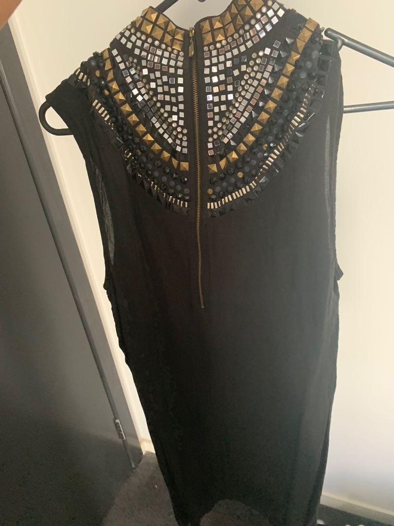 Sass and bide embellished mini dress black and gold size 8