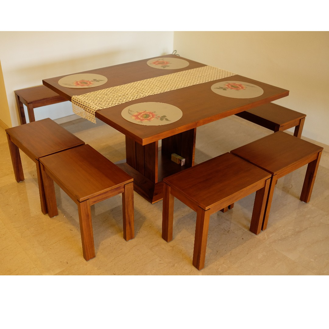 Picture of: Scanteak Solid Square Dining Table And Chairs 8 Seater Furniture Tables Chairs On Carousell