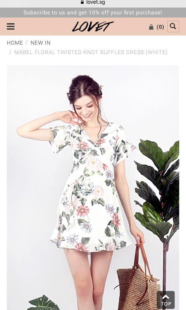 Shoplovet Mabel floral twisted knot ruffles dress white