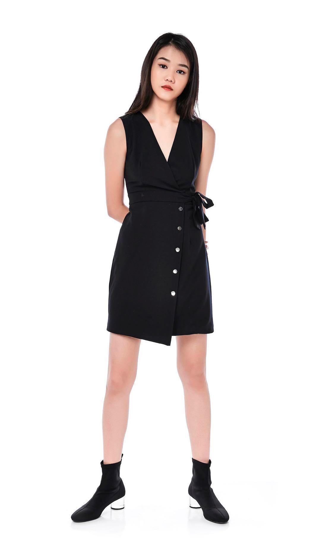 TEM black wrap dress with silver button details - XS