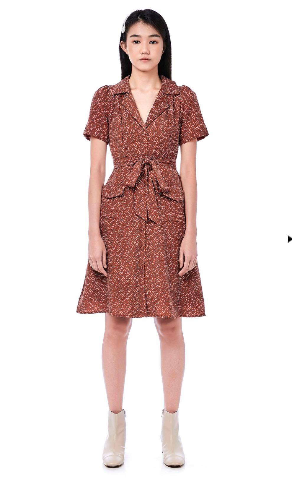 TEM elishh shirt dress with sash in rust