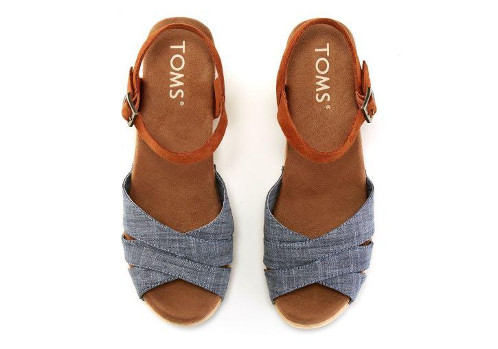TOMS Chambray Brown Suede Women's Beatrix Clog Sandals Size 5