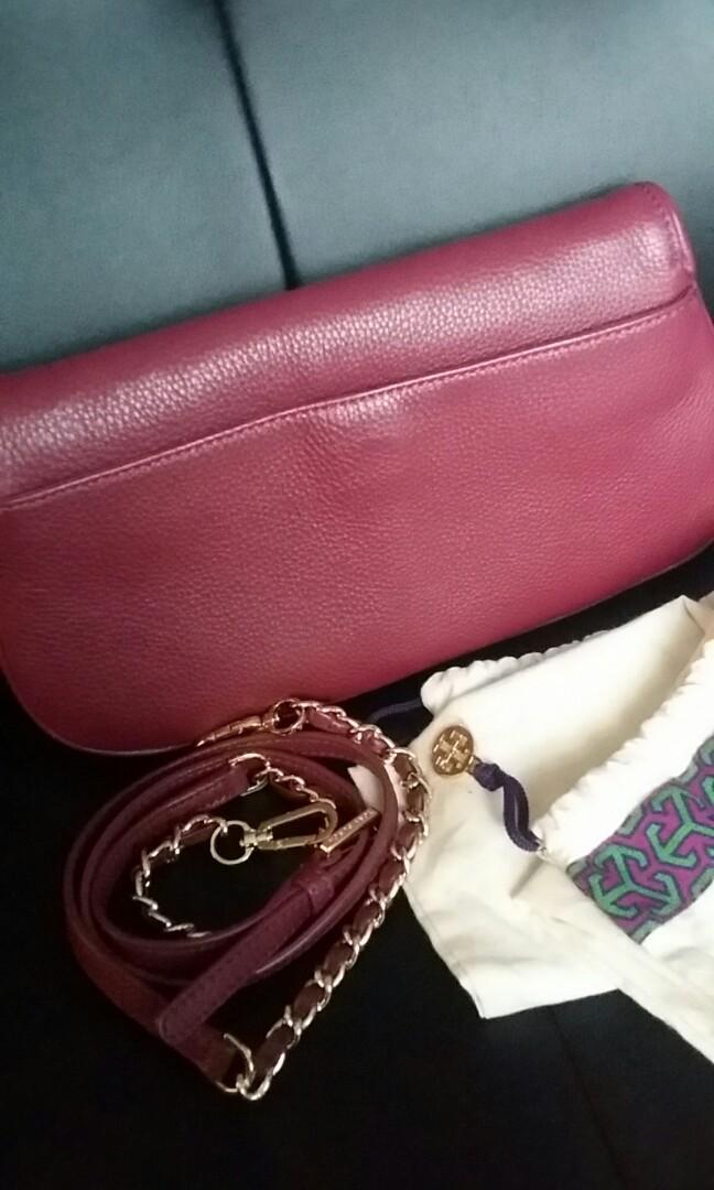 Tory Burch Britten Shiraz Red Leather Flap Clutch Crossbody Bag