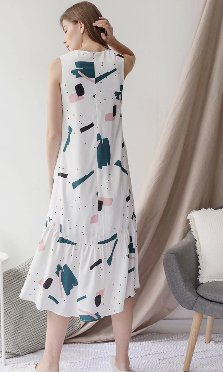 TTR Gia Fishtail dress in abstract print - xs