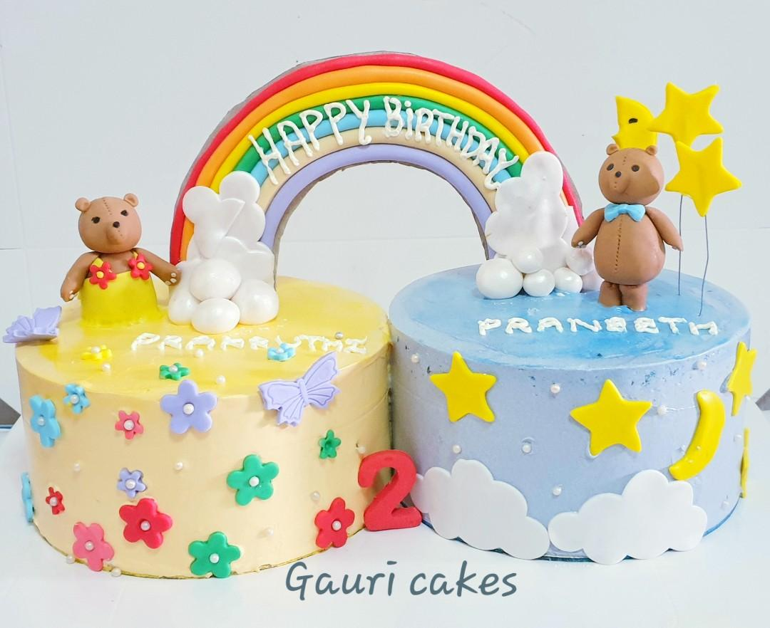 Pleasing Twins Birthday Cake Food Drinks Baked Goods On Carousell Funny Birthday Cards Online Unhofree Goldxyz