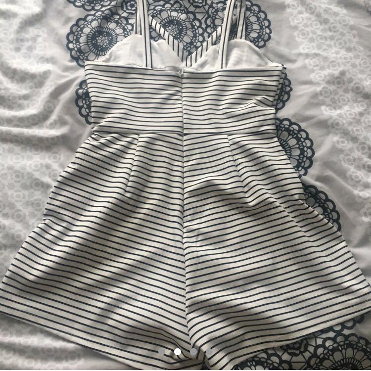 VALLEYGIRL Black and White striped Romper with pockets
